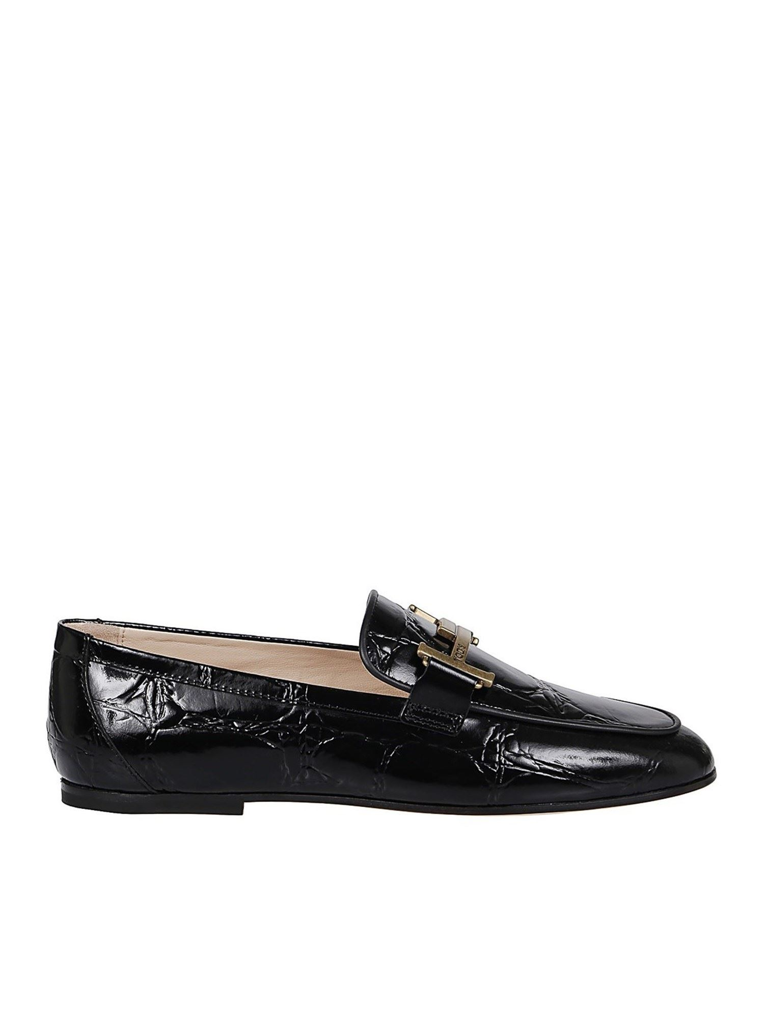 TOD'S CRACKLED LEATHER SLIPPERS IN BLACK