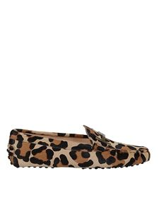 Tod's - Leopard calf hair loafers in beige
