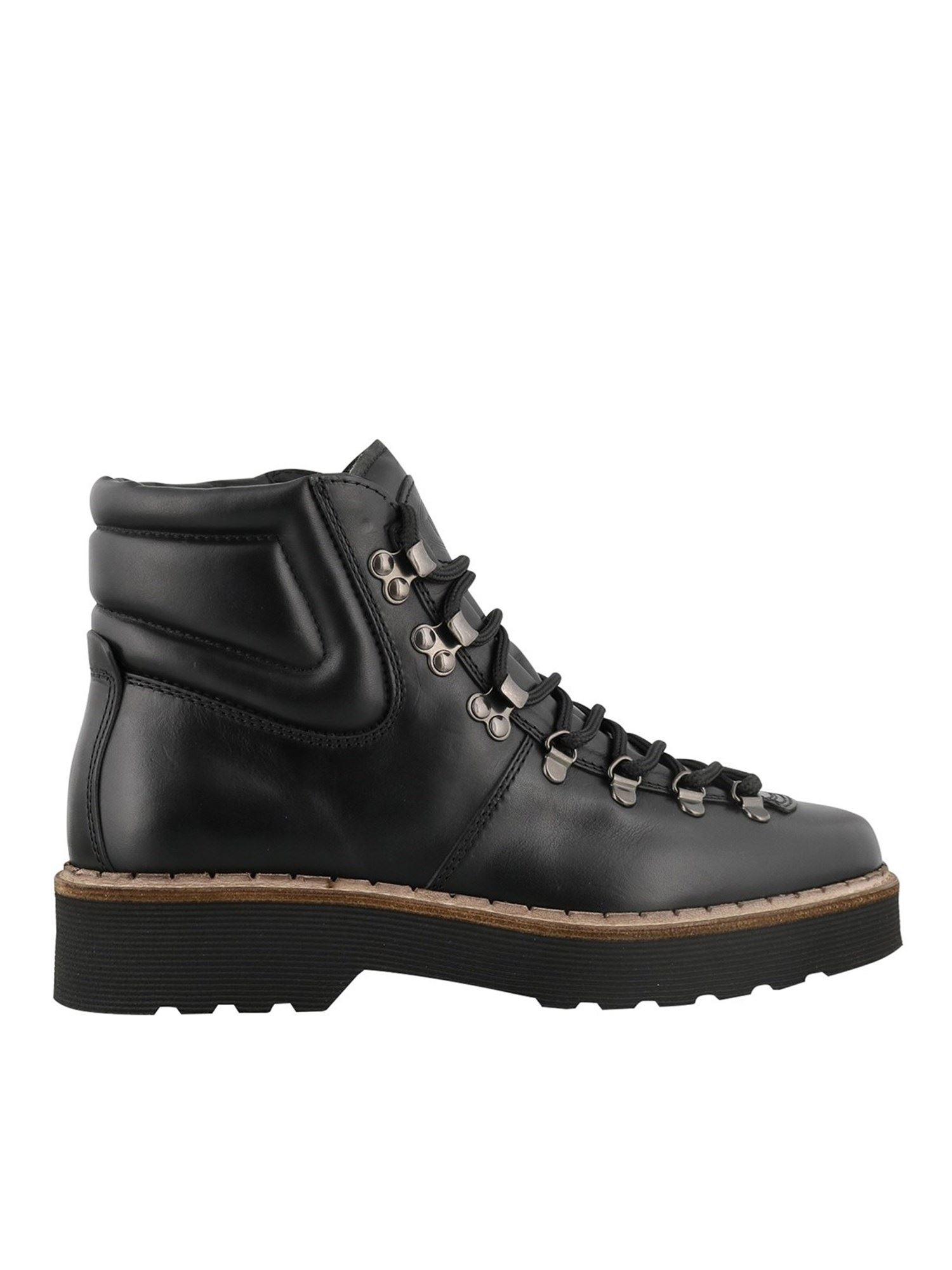 TOD'S LEATHER LACE-UP ANKLE BOOTS IN BLACK