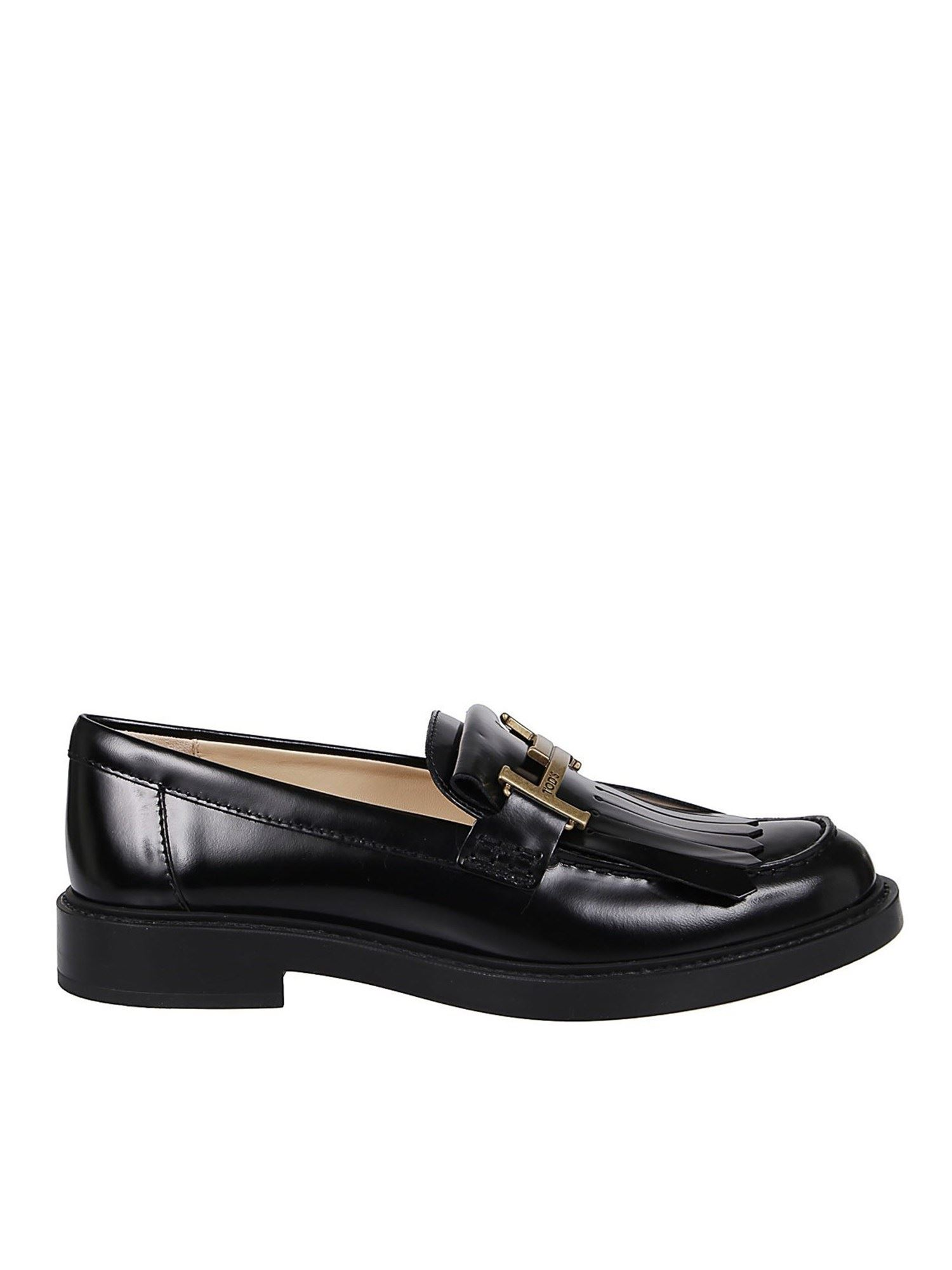 TOD'S BRUSHED LEATHER LOAFERS IN BLACK
