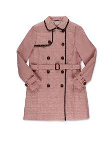 Fendi Jr - Quilted trench in pink