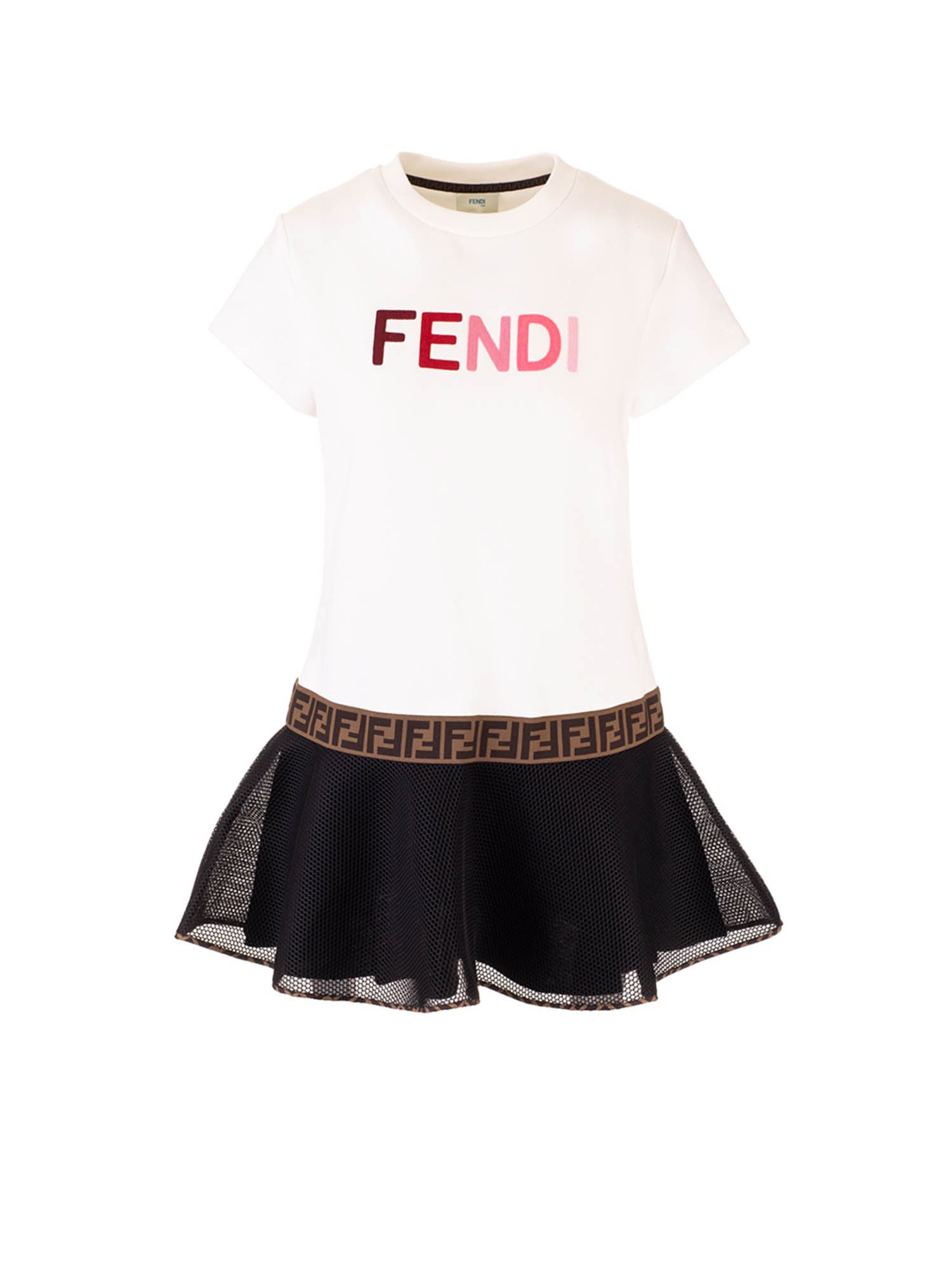 Fendi Jr Cottons CONTRASTING SKIRT DRESS IN WHITE