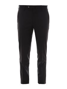 PT Torino - Tailored wool blend trousers in black