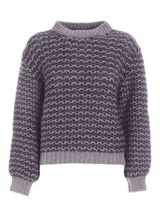 Lorena Antoniazzi - Crewneck lamé sweater in blue and grey