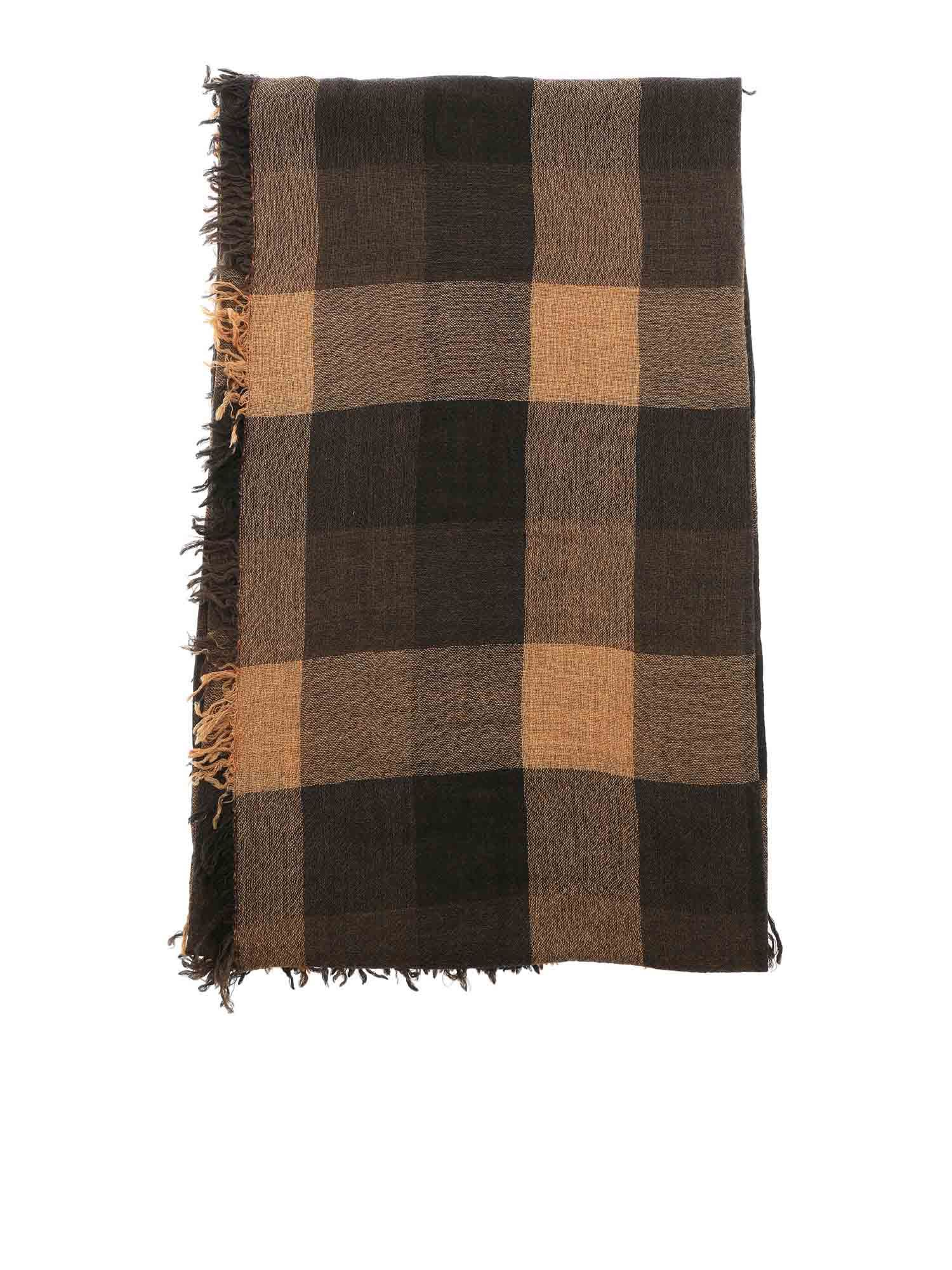 Faliero Sarti OLISA CHECKED SCARF IN BROWN