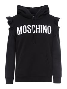 Moschino - Ruffle cotton hoodie in black