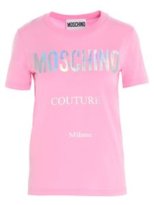 Moschino - Cotton T-shirt with brand lettering in pink
