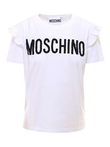 Moschino - Cotton T-shirt with brand lettering in white