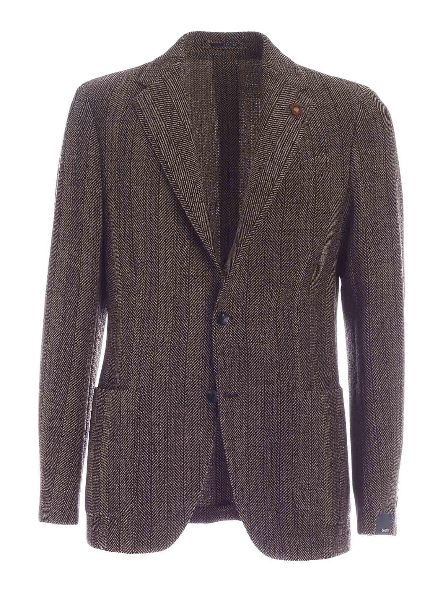 Lardini SINGLE-BREASTED JACKET IN MELANGE BROWN