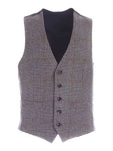 Lardini - Prince of Wales check vest in beige and blue