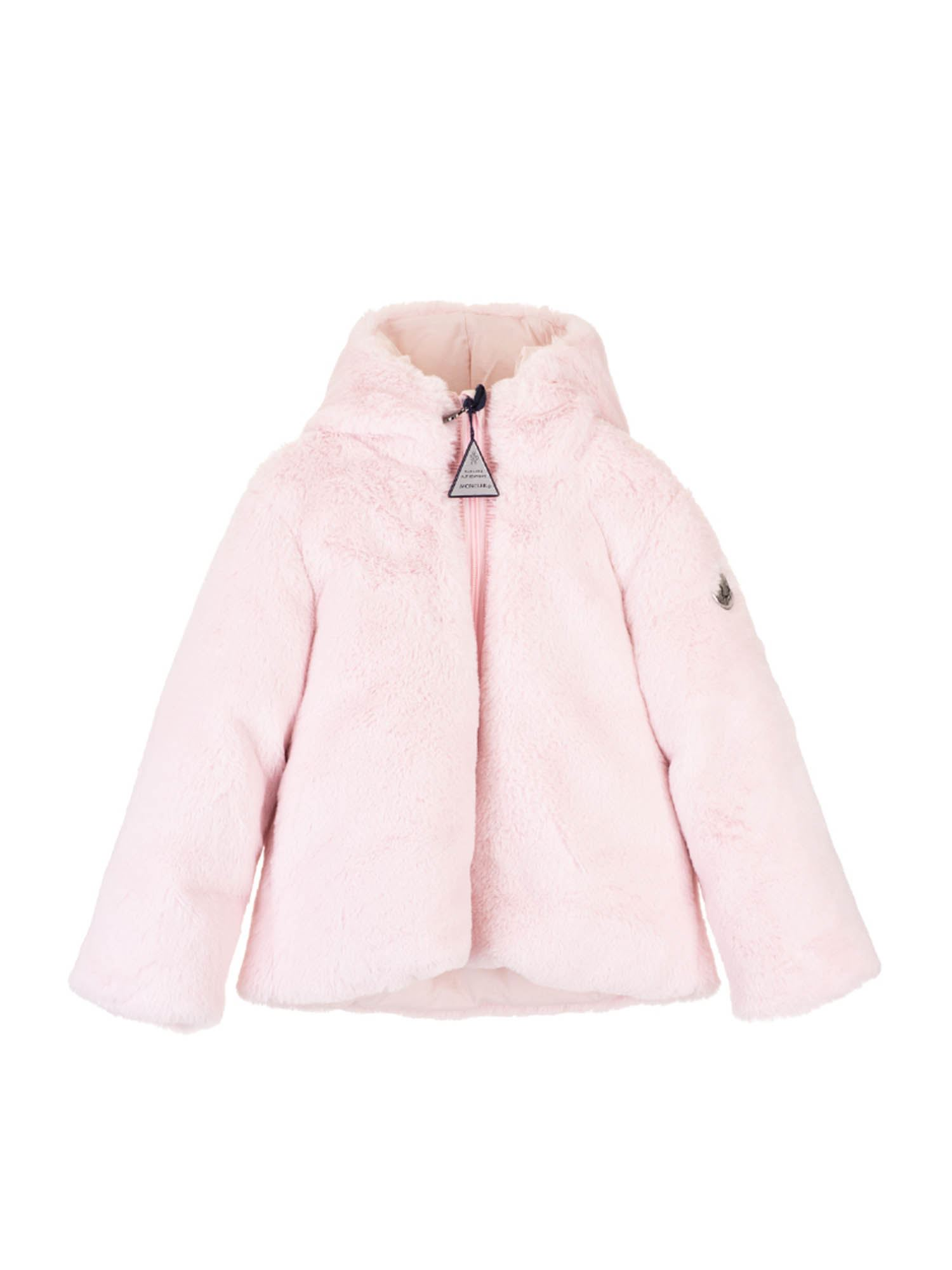 Moncler Jr ECO-FUR JACKET IN PINK