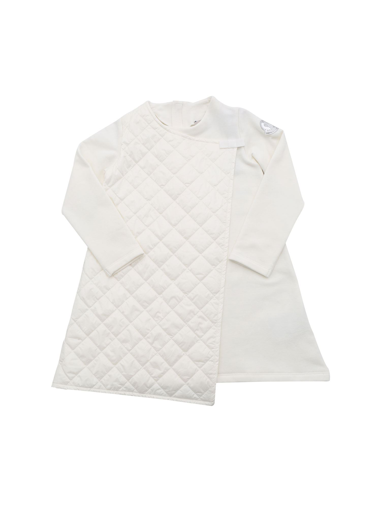 Moncler Jr QUILTED DETAIL DRESS IN IVORY COLOR