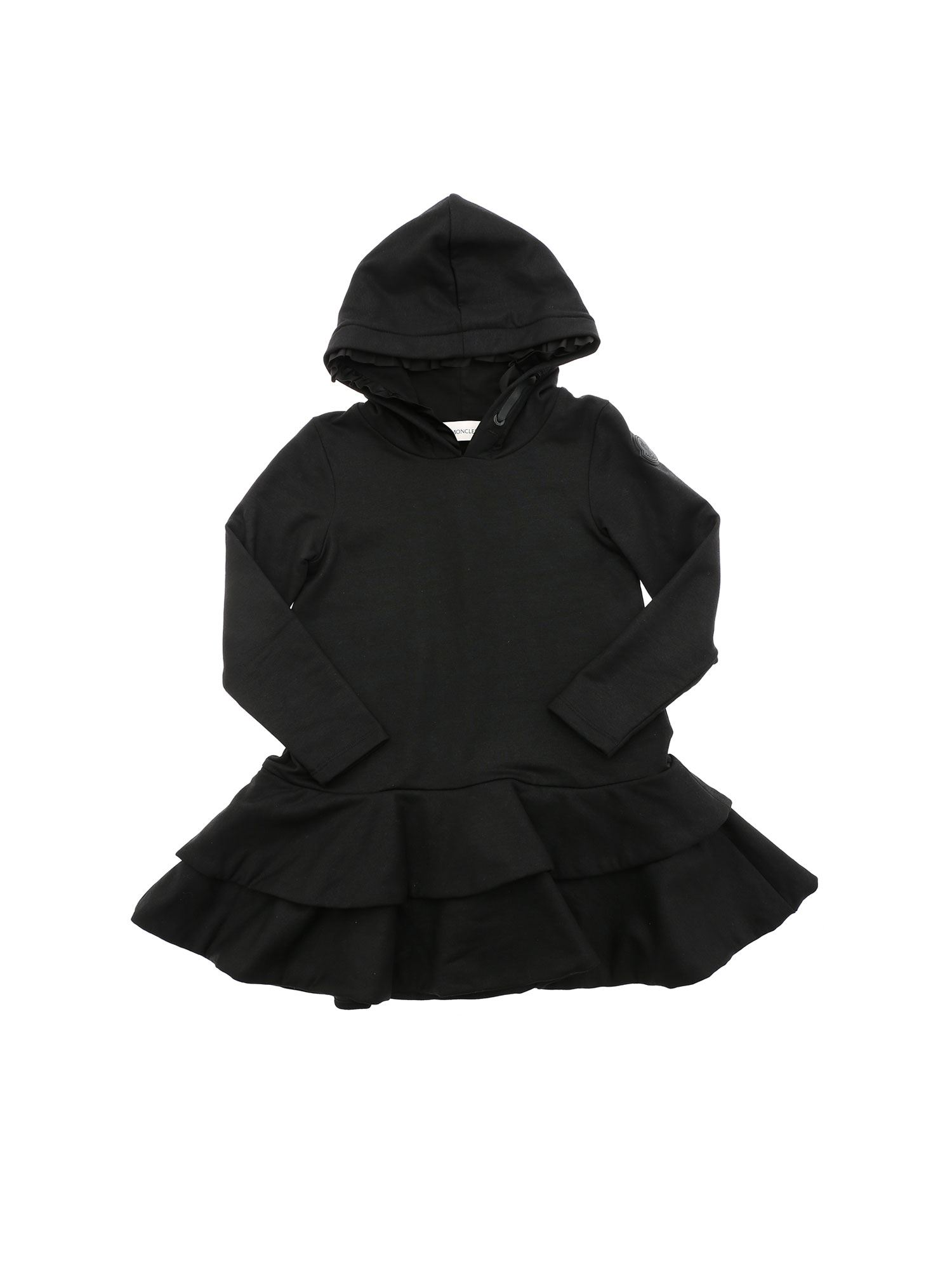 Moncler Jr FLOUNCES ON THE BOTTOM DRESS IN BLACK