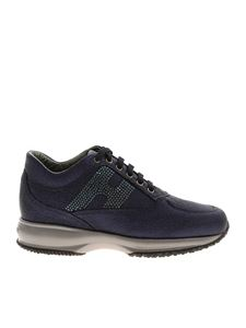 Hogan - Interactive rhinestones sneakers in blue