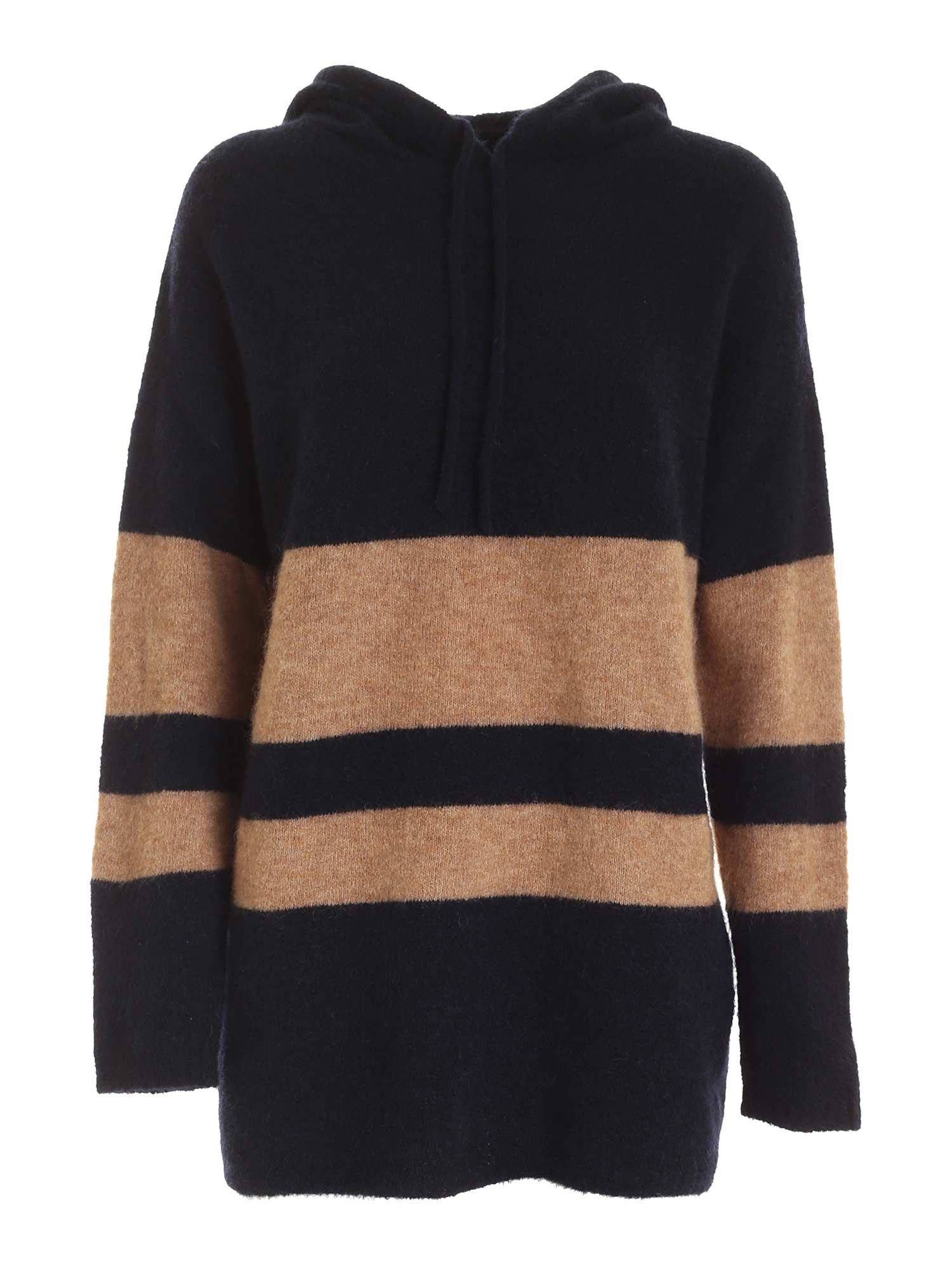 Max Mara DIOMEDE PULLOVER IN BLUE AND CAMEL COLOR