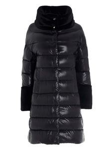 Herno - Faux fur trim down jacket in black