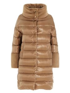 Herno - Faux fur trim down jacket in brown