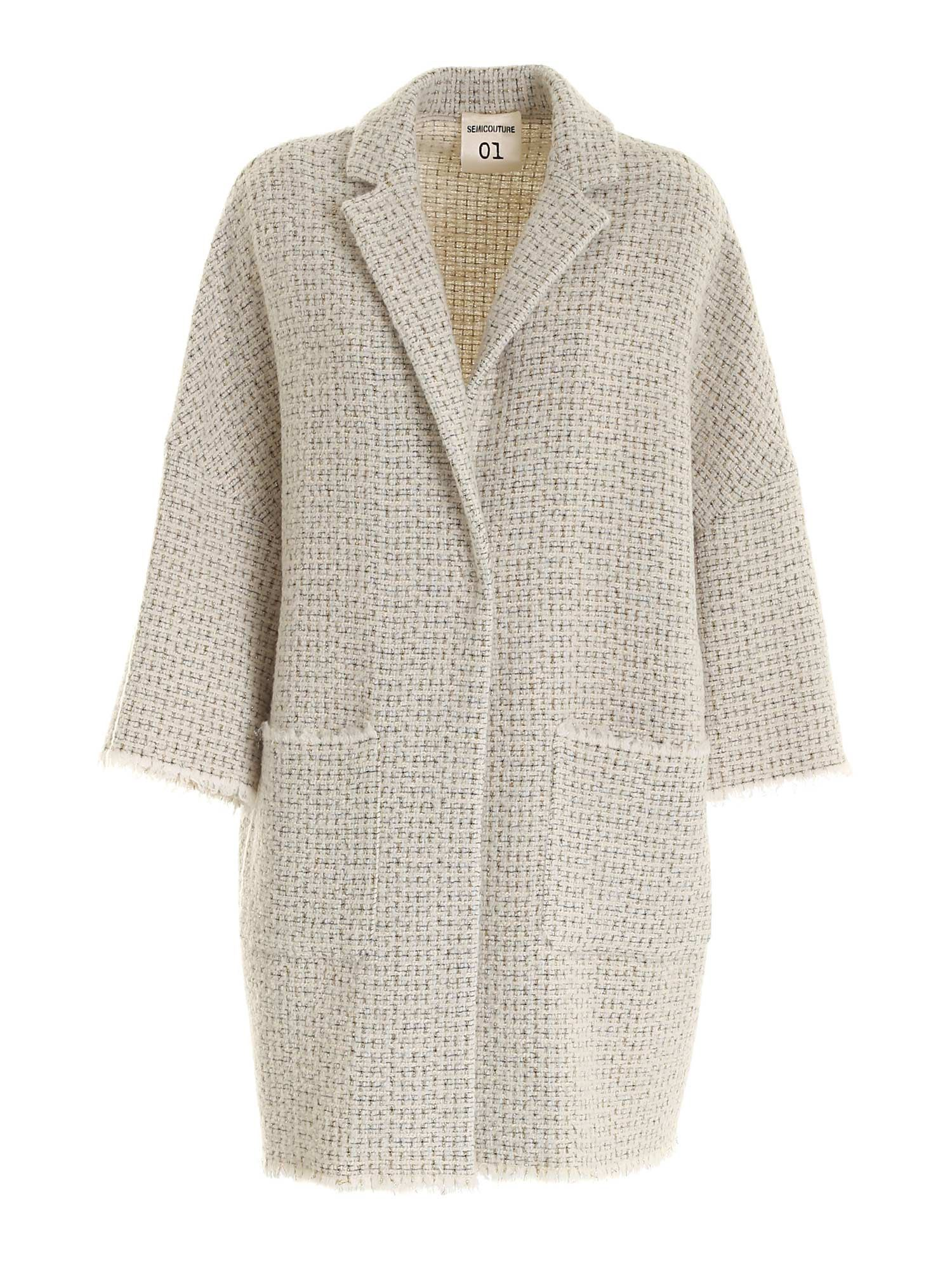 Semicouture FRINGED EDGES COAT IN WHITE