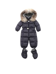 Moncler Jr - New Jean fur snowsuit in blue