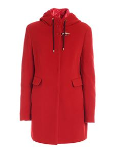 Fay - Padded details coat in red