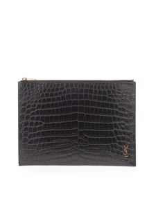 Saint Laurent - Porta tablet stampa rettile nero