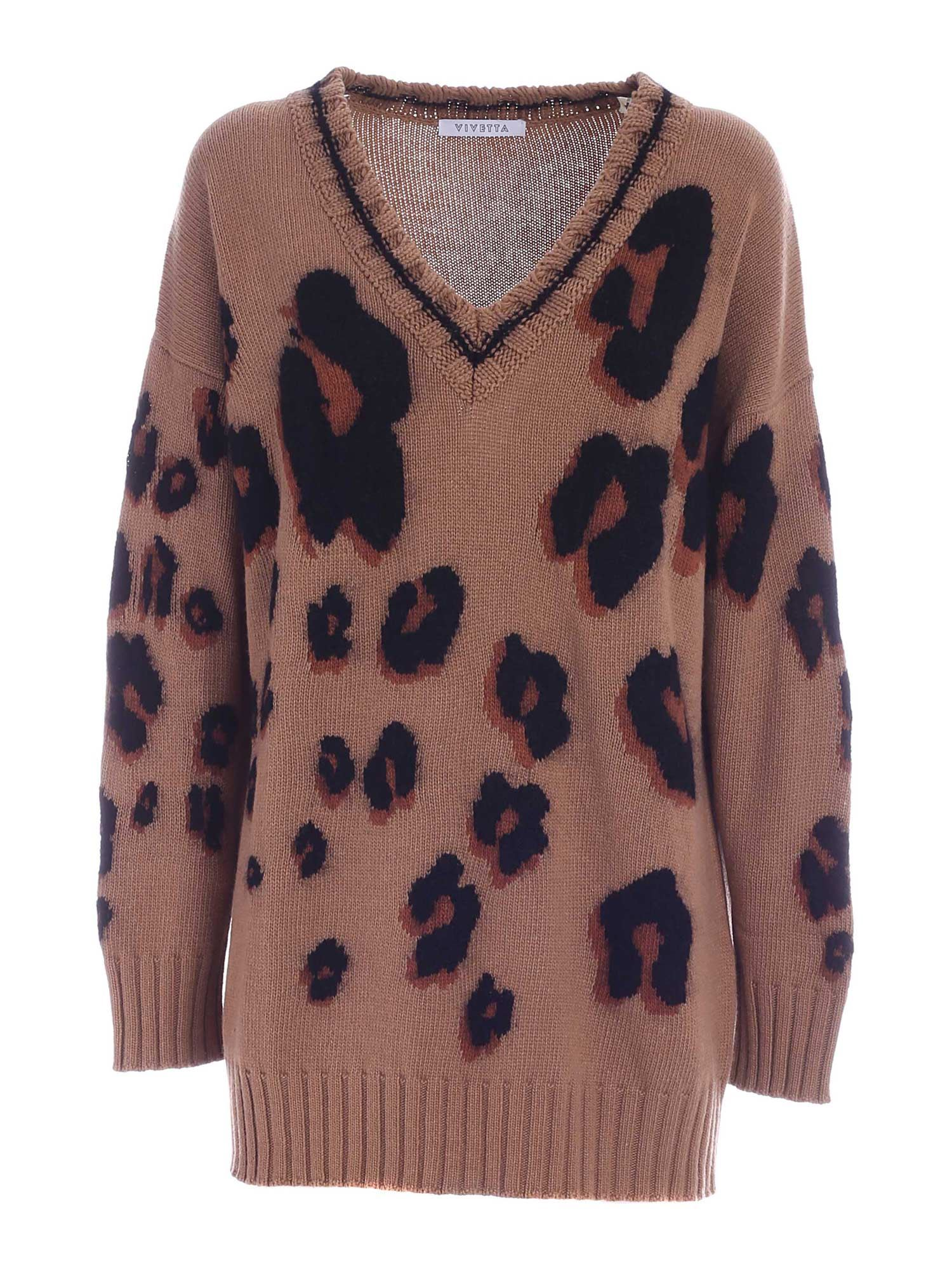 Vivetta V-NECK PULLOVER IN BROWN