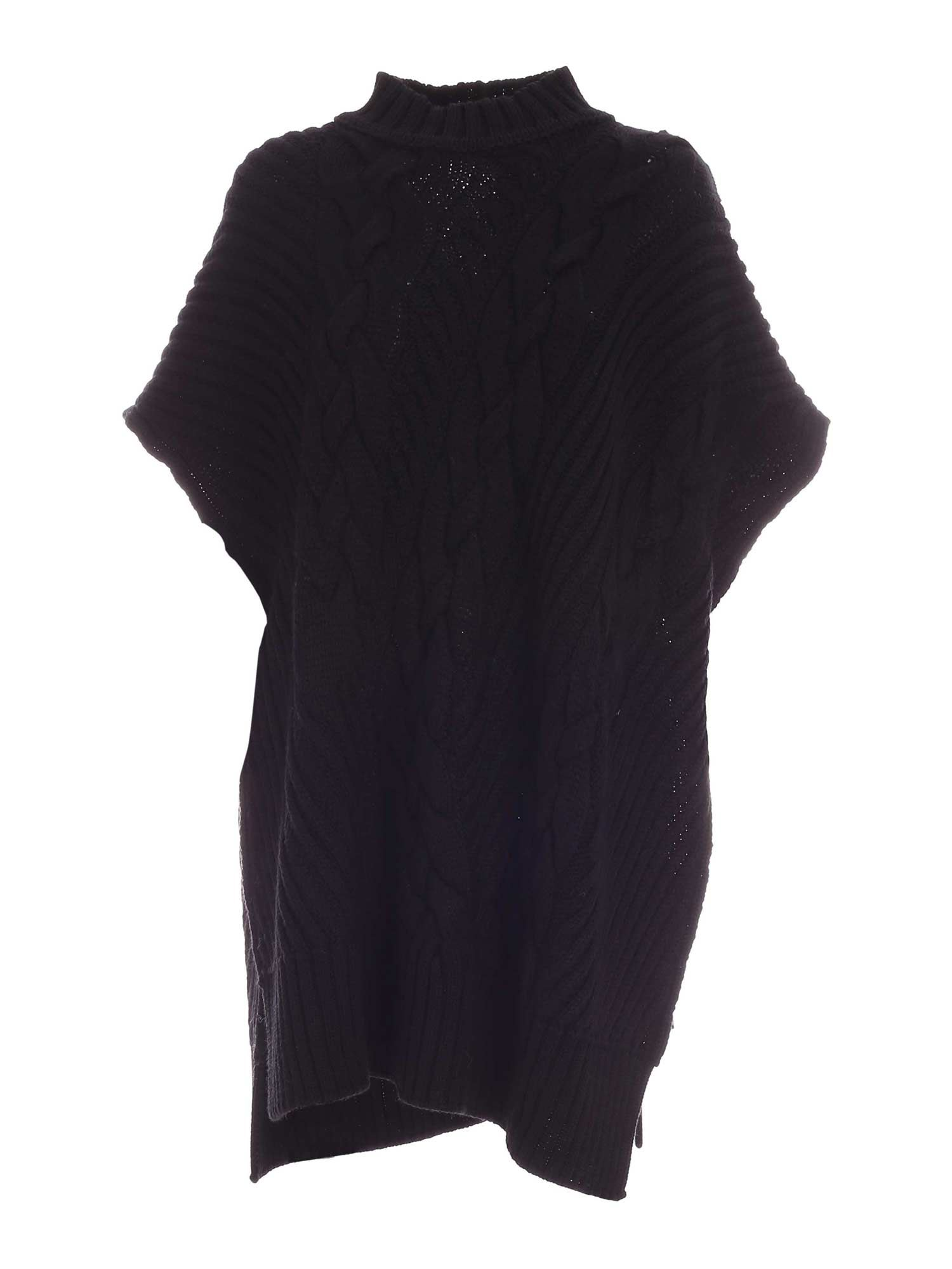 Vivetta HIGH NECK PONCHO IN BLACK