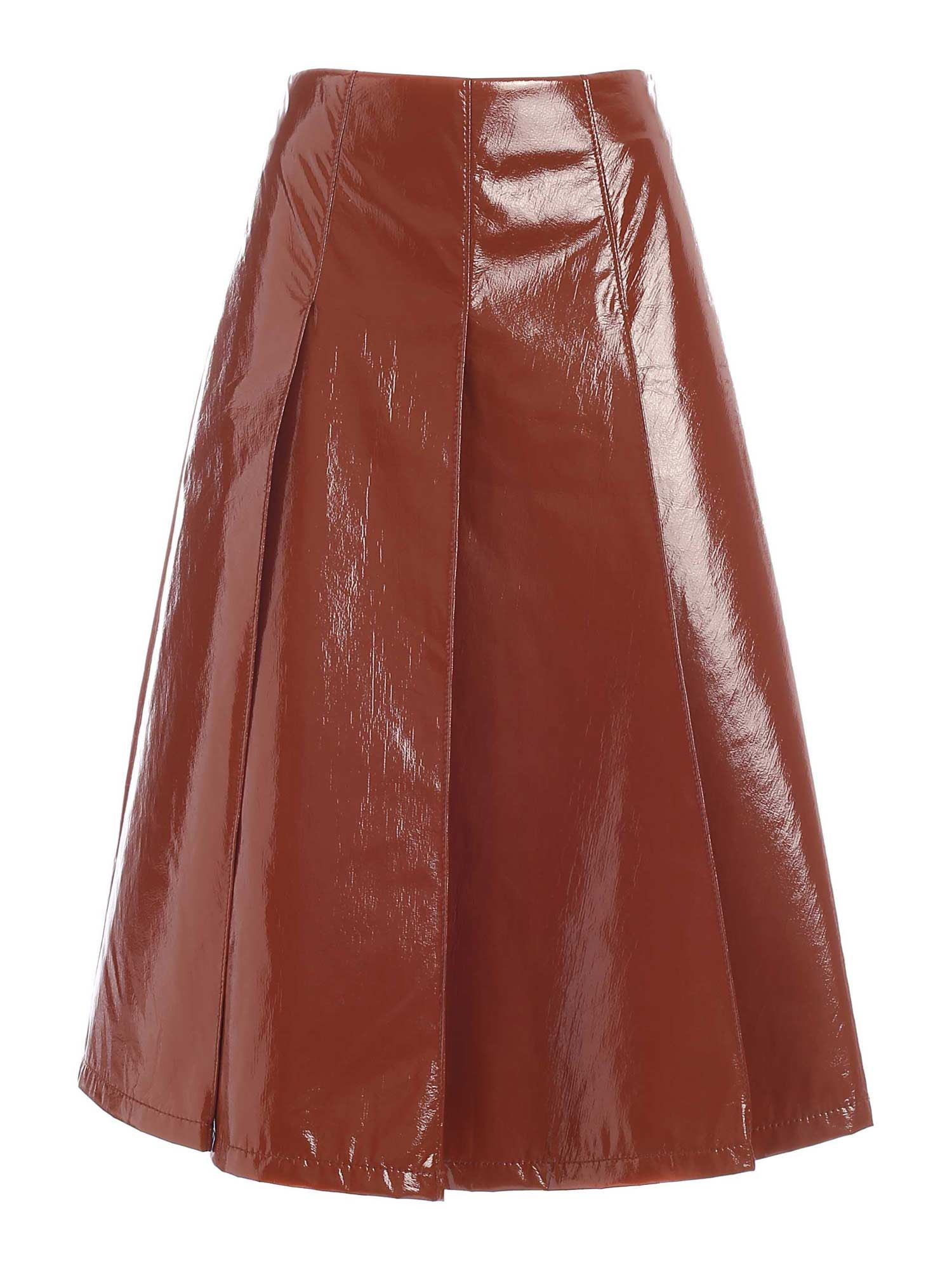 Vivetta PLEATED SKIRT IN BROWN