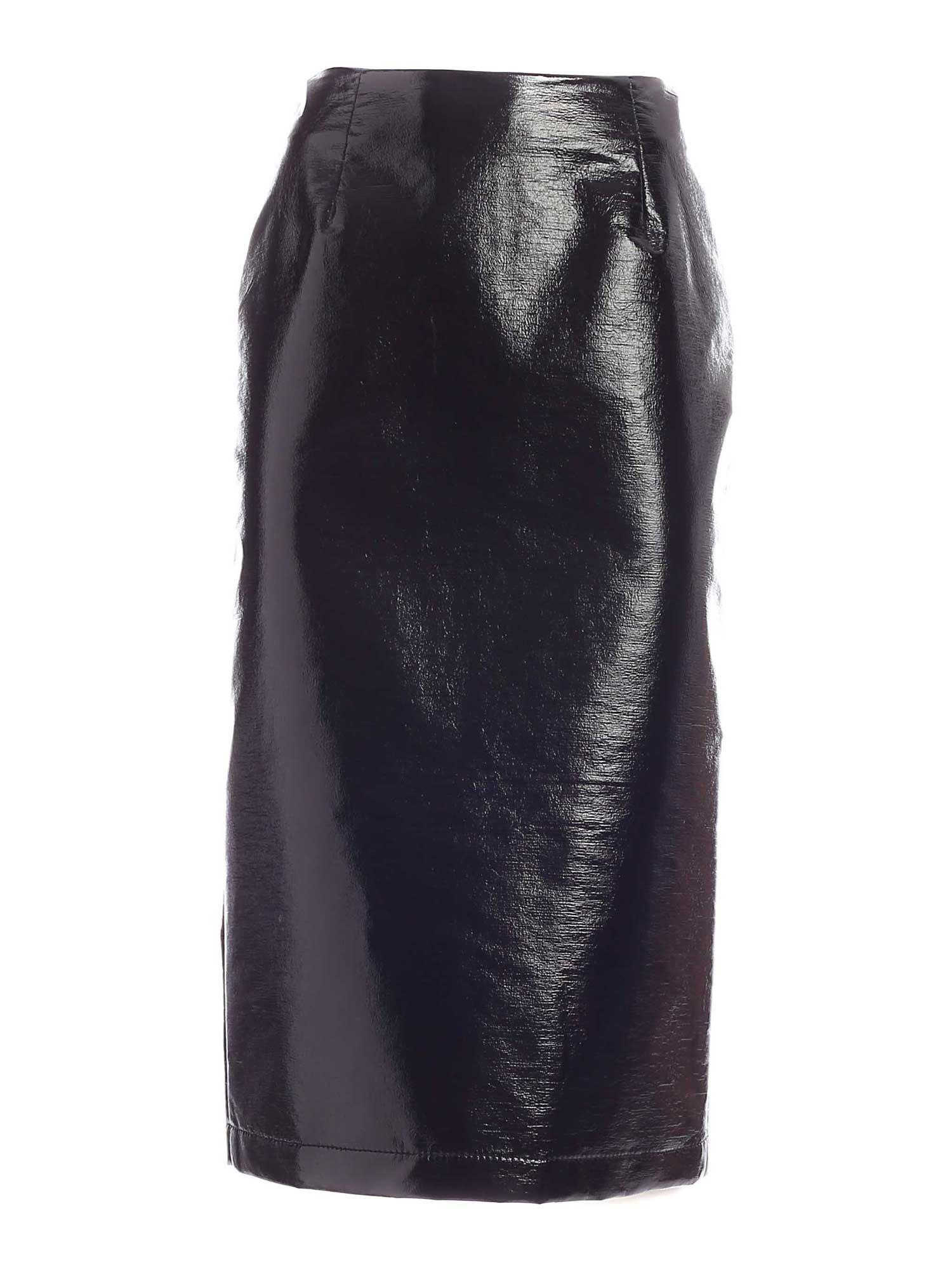 Vivetta FAUX LEATHER SKIRT IN BLACK