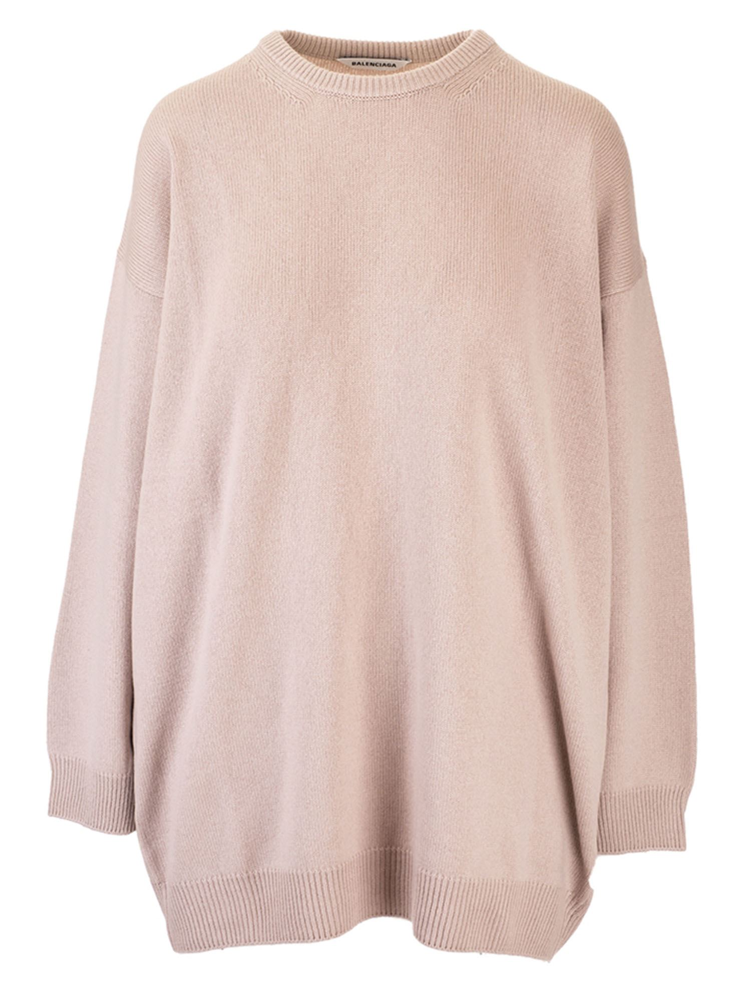 Balenciaga REAR LOGO SWEATER IN BEIGE