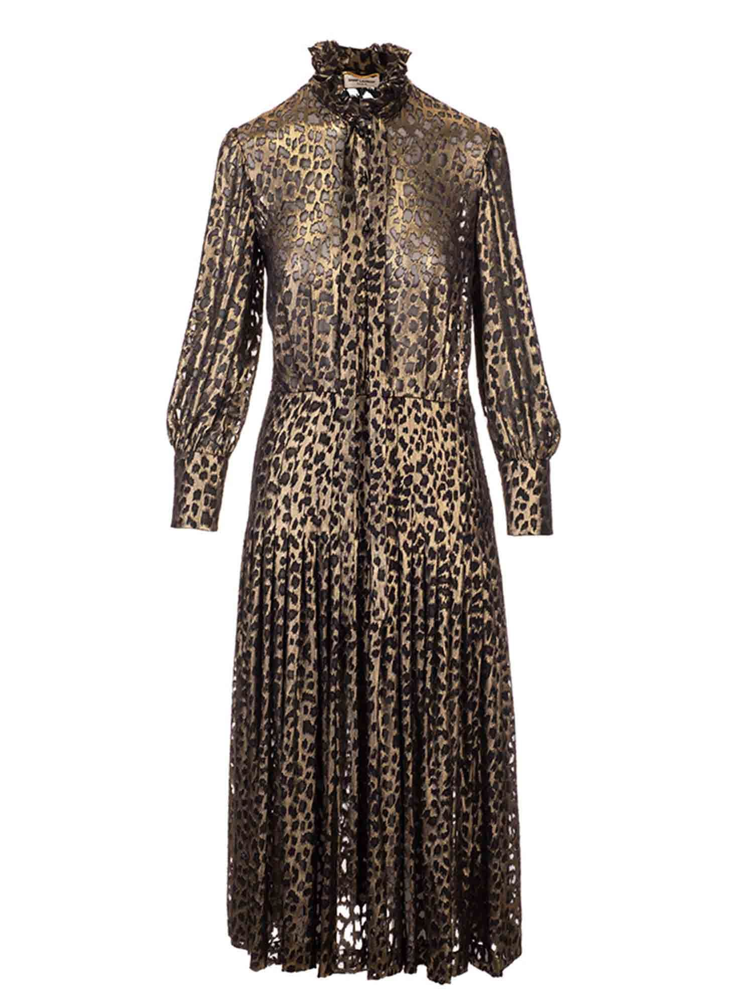 Saint Laurent LONG METALLIC ANIMALIER DRESS