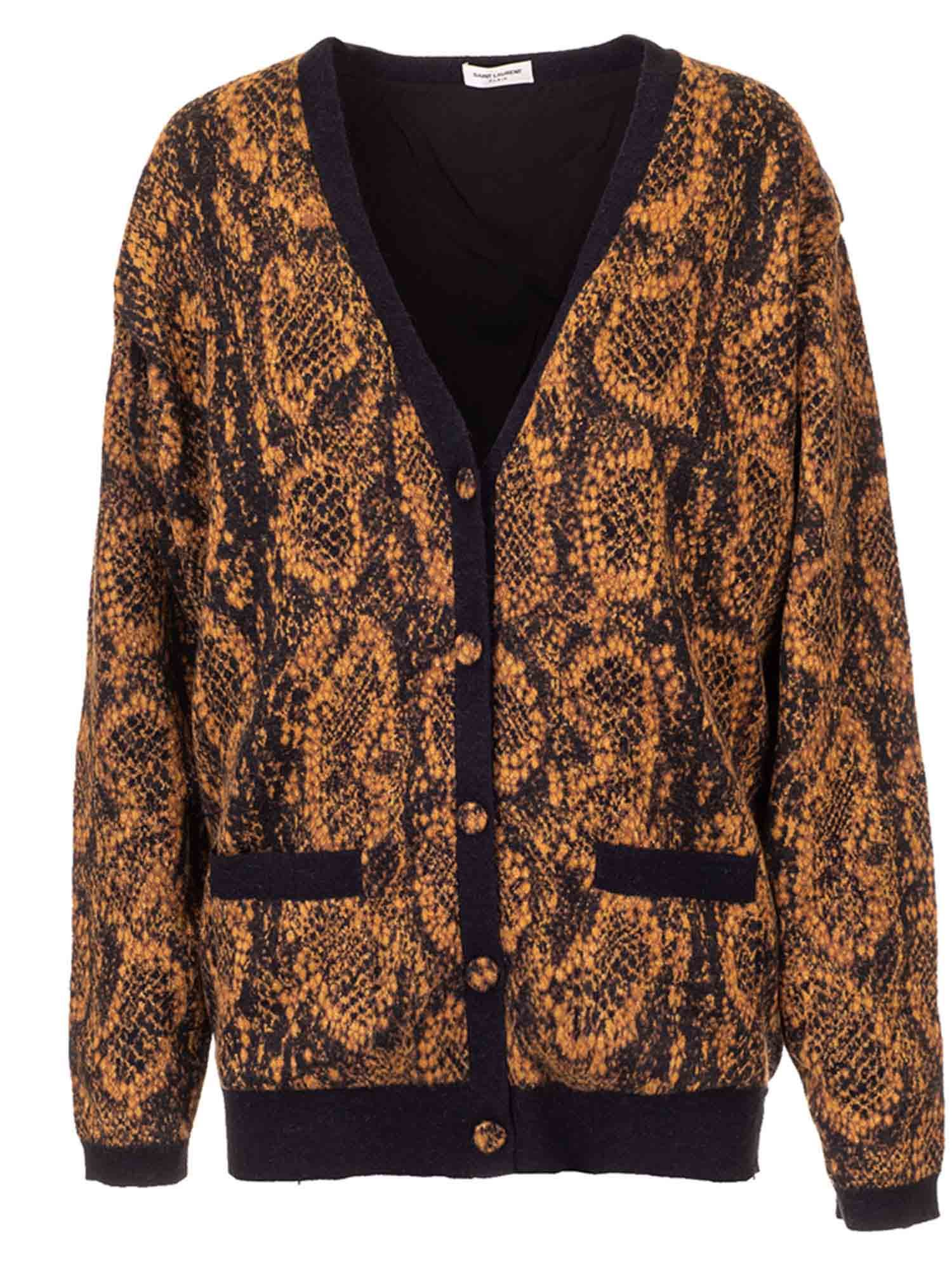 Saint Laurent REPTILE PRINT CARDIGAN IN BLACK AND BROWN