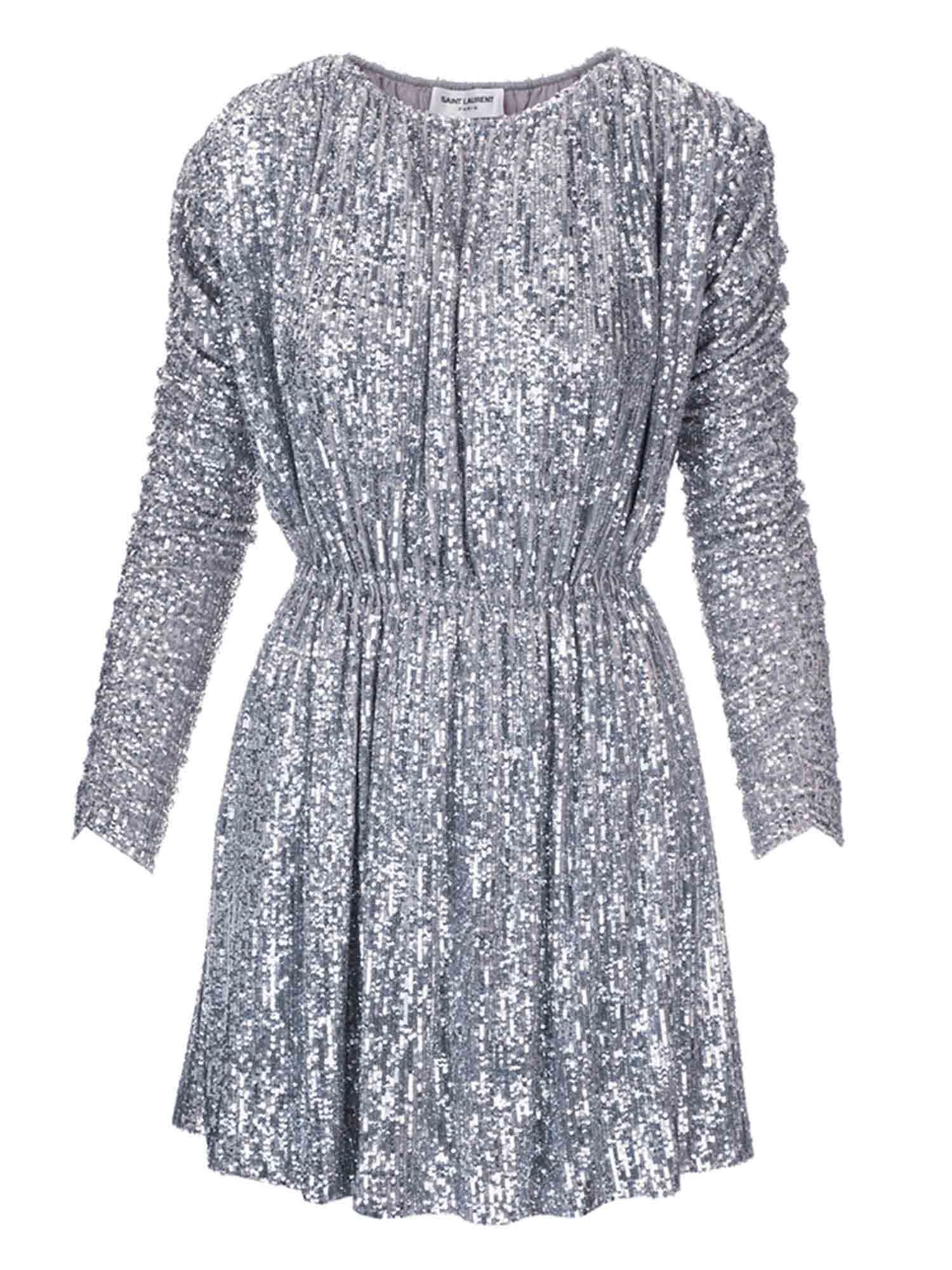 Saint Laurent MINI DRESS IN SILVER SEQUINS