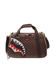 Sprayground - Shark Pet Carrier checked bag in brown
