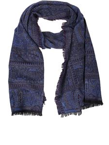 Etro - Paisley wool blend scarf in blue