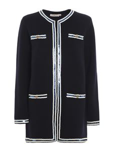 Tory Burch - Kendra sequined coat in blue