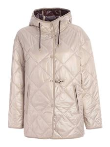 Fay - Quilted hooded down jacket in ivory color