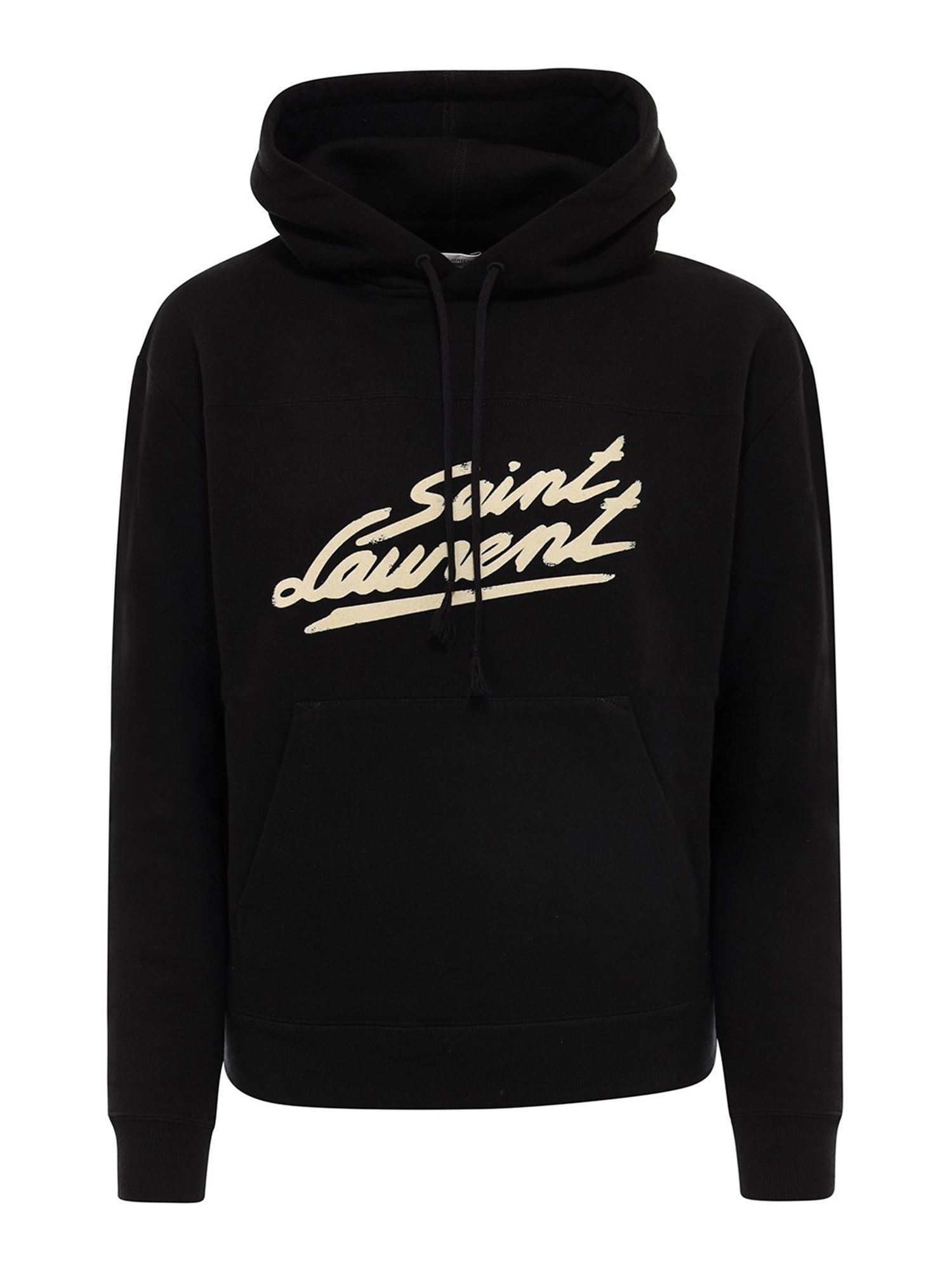 Saint Laurent COTTON HOODIE IN BLACK