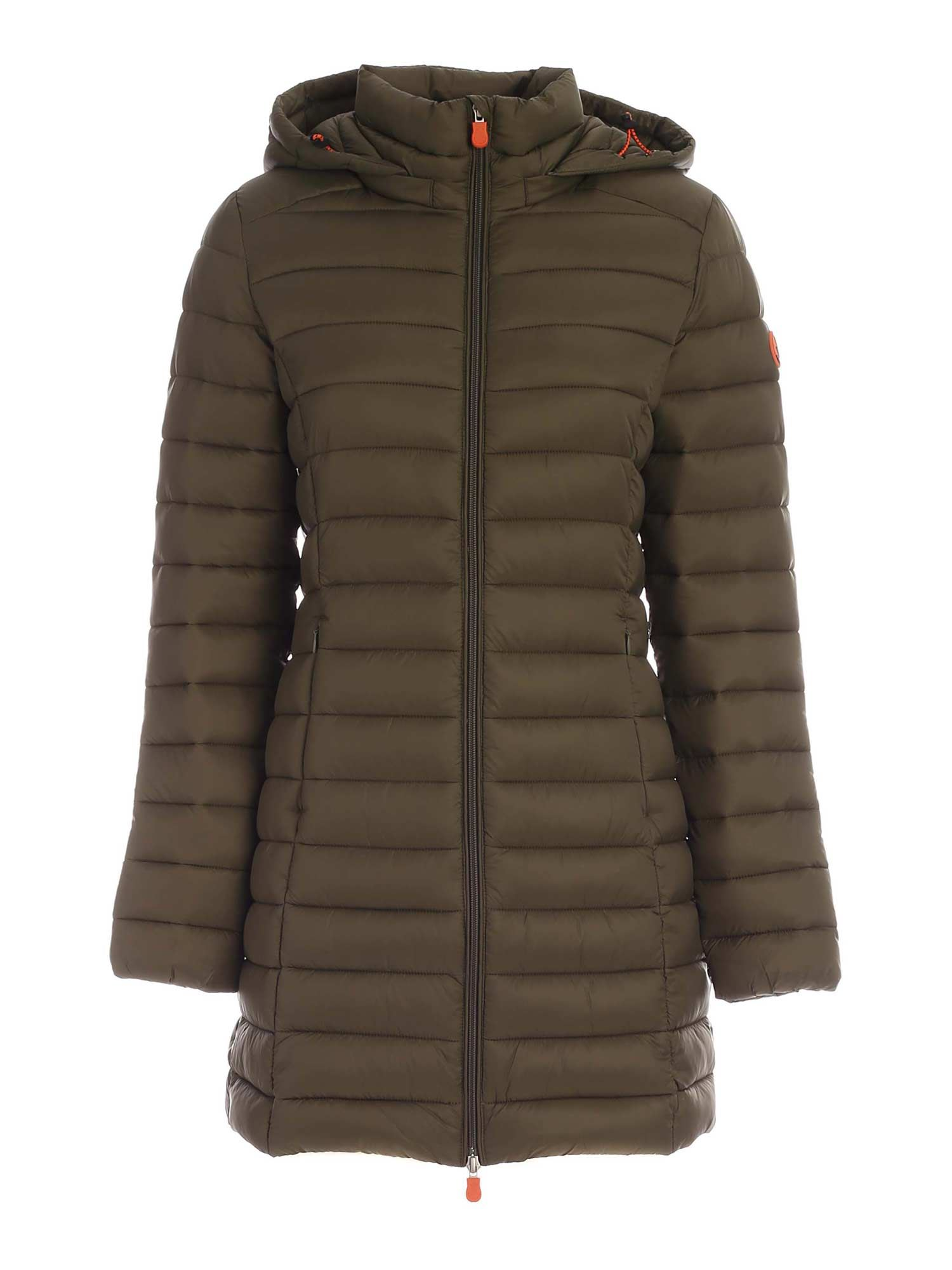 Save The Duck WAISTED LONG DOWN JACKET IN GREEN