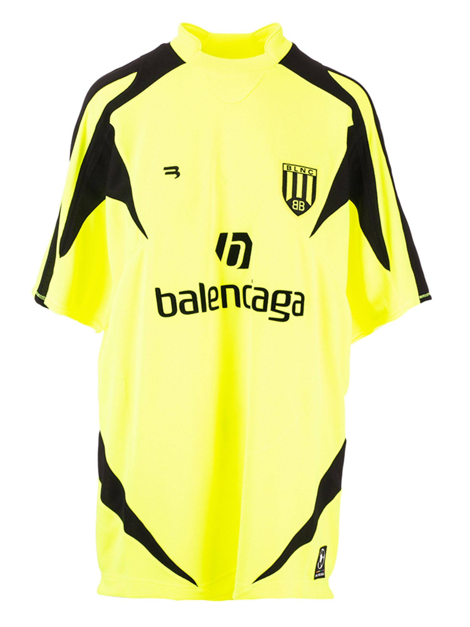 Balenciaga SOCCER T-SHIRT IN NEON YELLOW