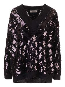 Valentino - Sequins pullover in black