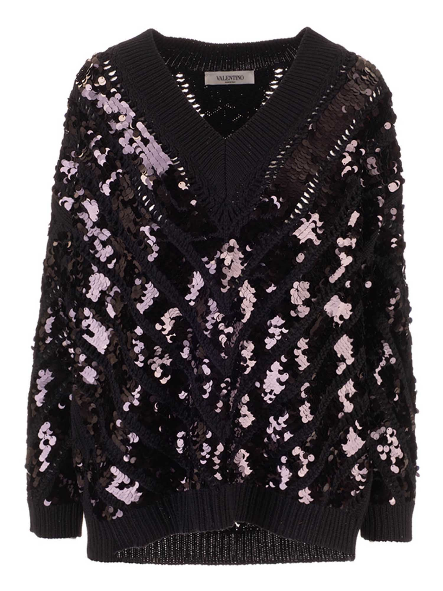 Valentino SEQUINS PULLOVER IN BLACK