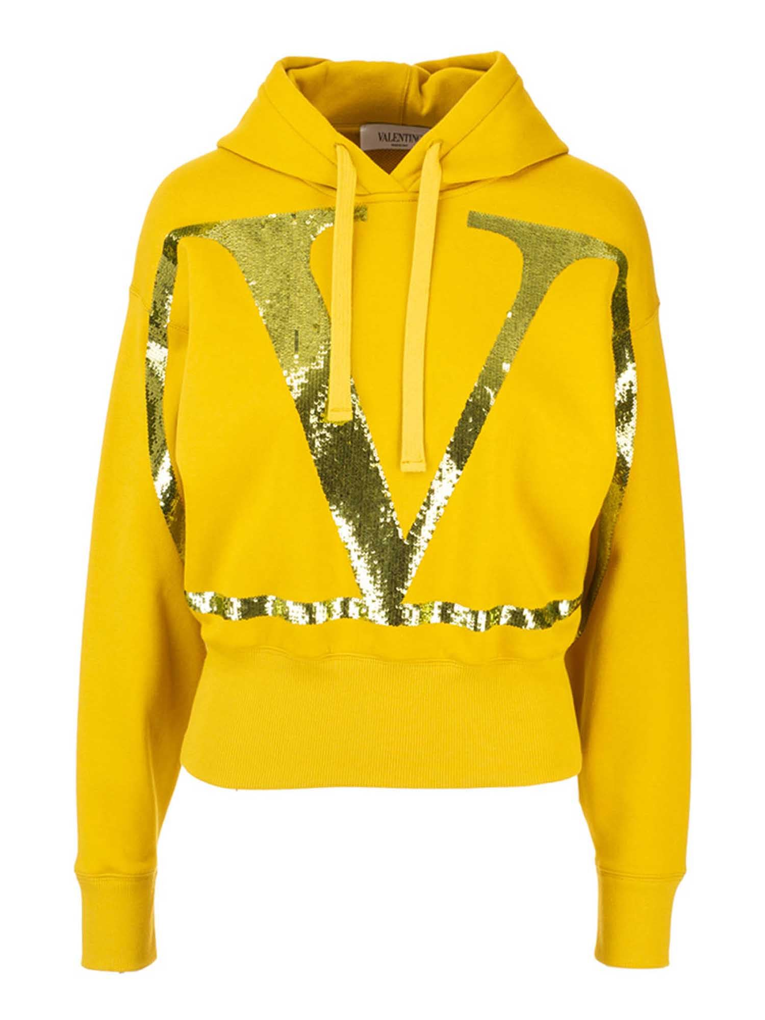 Valentino SEQUIN LOGO SWEATSHIRT IN YELLOW