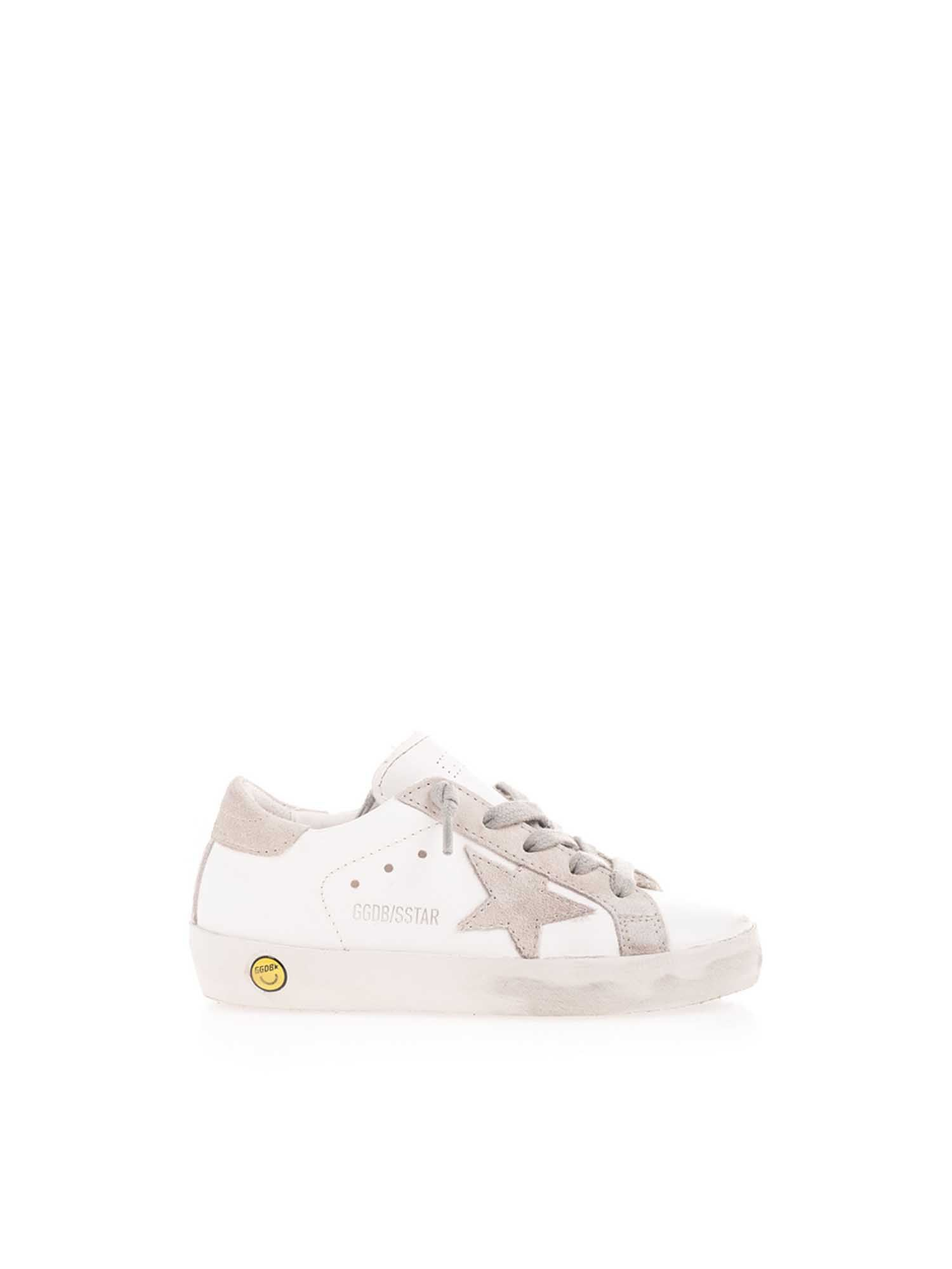 Golden Goose SUPER STAR SNEAKERS IN WHITE AND ECRU