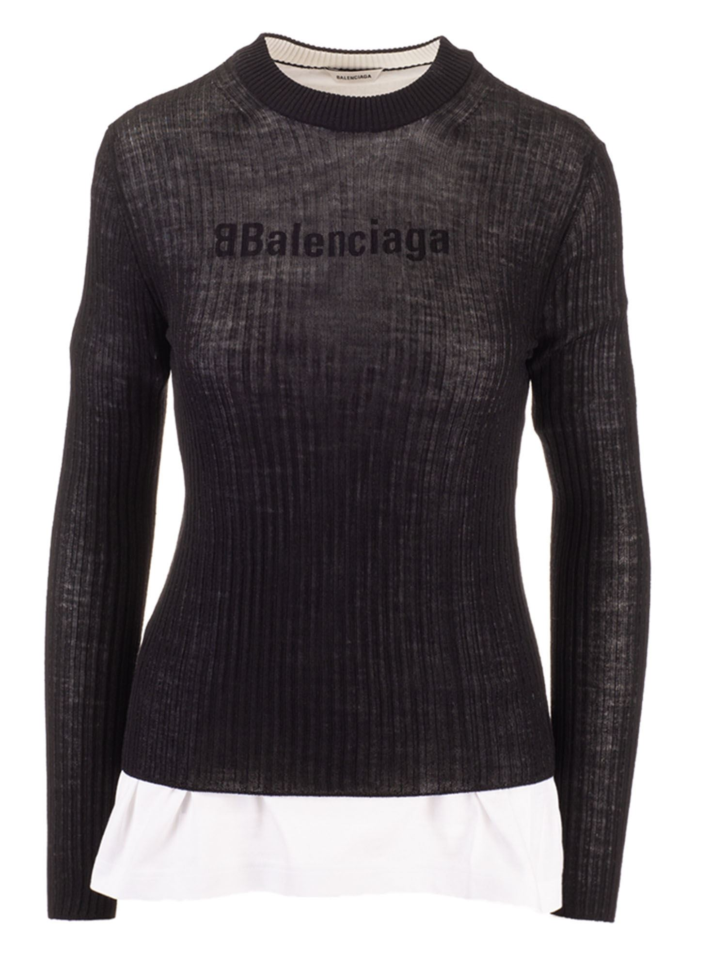 Balenciaga INTEGRATED T-SHIRT PULLOVER IN BLACK