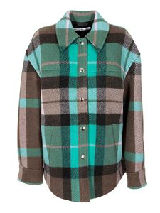 Acne Studios - Checked overshirt in turquoise and brown