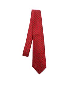 Kiton - Contrasting pattern tie in red