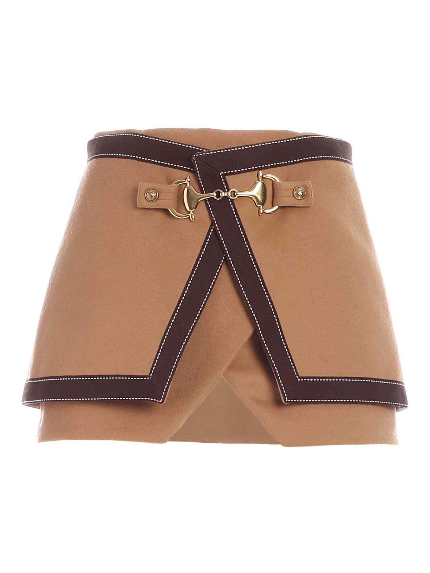 Balmain GOLDEN DETAILS SKIRT IN BROWN