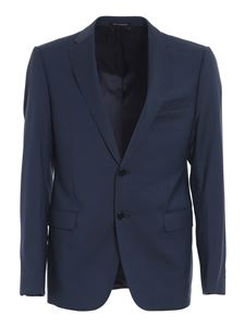 Emporio Armani - Textured wool suit in blue
