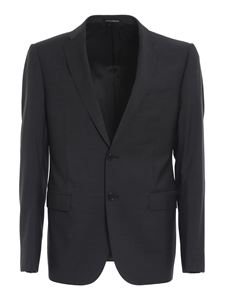 Emporio Armani - Textured wool suit in grey